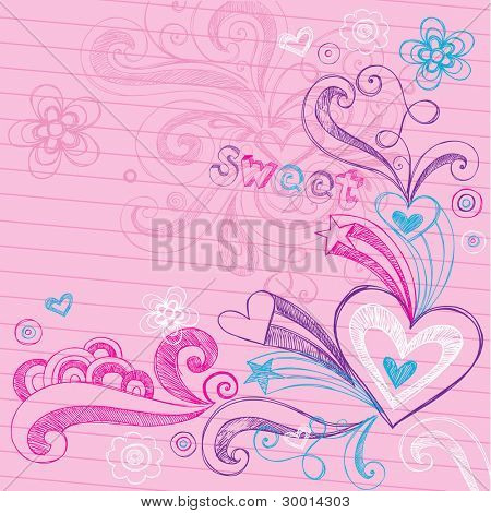 Sketchy Back to School Hand-Drawn Hearts and Stars Sketchy Notebook Doodles Vector Illustration Design Elements on Lined Sketchbook Paper Background