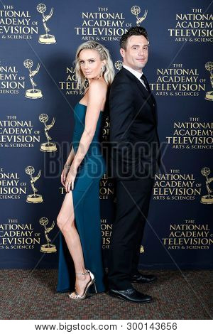 PASADENA - May 5: Melissa Ordway, Daniel Goddard in the press room at the 46th Daytime Emmy Awards Gala at the Pasadena Civic Center on May 5, 2019 in Pasadena, California
