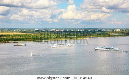 Tourist Boats On The River Volga In Nizhny Novgorod In Russia