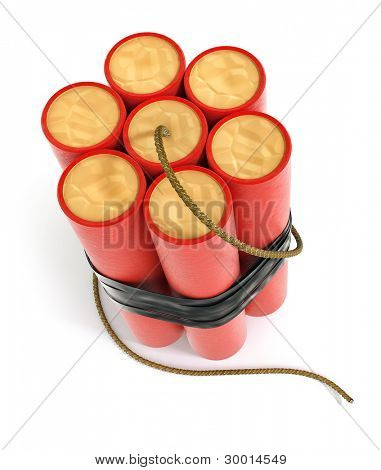 explosive dynamite sticks 3d-illustration isolated on white background with clipping path included