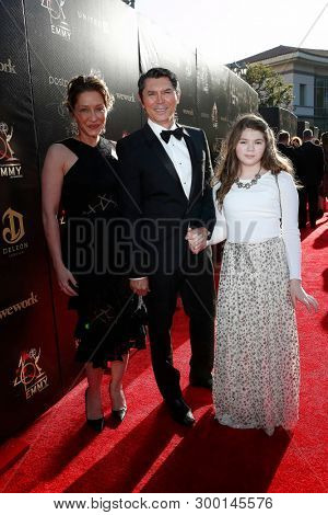 PASADENA - May 3: Lou Diamond Phillips, Yvonne Boismier Phillips, Indigo Sanara Phillips at the 46th Daytime Creative Arts Emmy Awards Gala at the Civic Center on May 3, 2019 in Pasadena, California