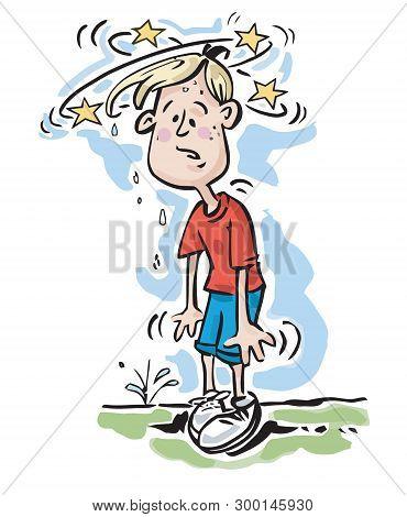 Cartoon Illustration Of A Young Boy Feeling Dizzy