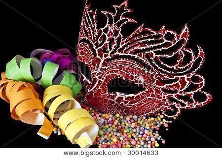 Carnival Masks On Black  Background