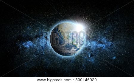 Planet Earth With Sunrise On Space Background. Elements Of This Image Furnished By Nasa.
