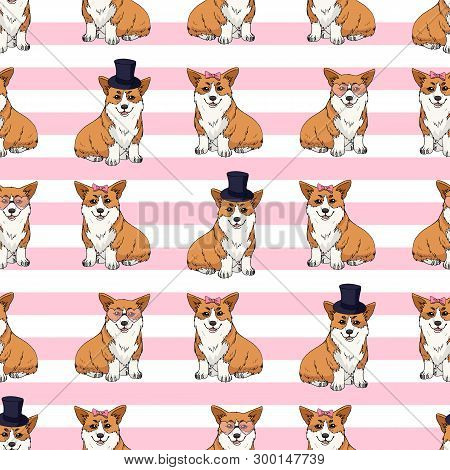 Seamless Pattern With Cute Cartoon Pembroke Welsh Corgi With Different Accessories On Pink And White