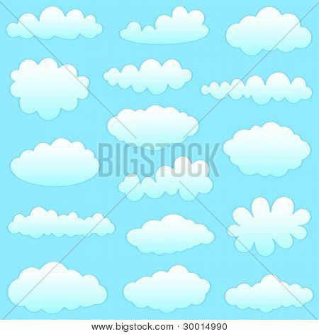 cartoon clouds against blue sky