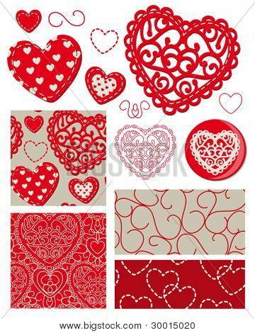 Intricate heart vector patterns and icons to use as backgrounds or on textiles for Valentine projects.