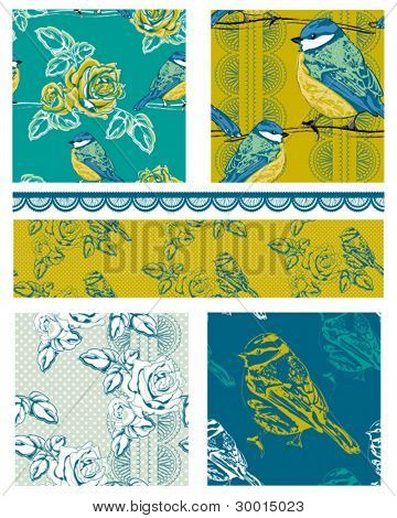 Vector Bird and Floral Repeat Patterns.  Great for use on textile projects.