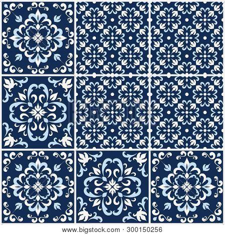 Blue And White Ornate Portuguese Tiles. Traditional Azulejo Patterns. Simple Mandala Ornaments. Set