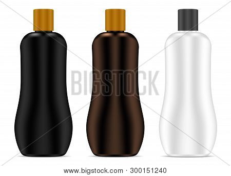 Cosmetic Bottle. Sunblock Cream Package Set. Realistic 3d Blank Container For Shampoo, Gel, Lotion P