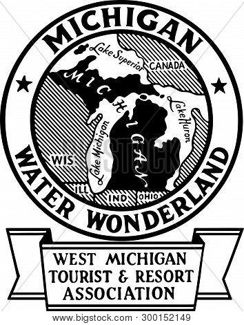 Michigan Water Wonderland - Retro Ad Art Banner