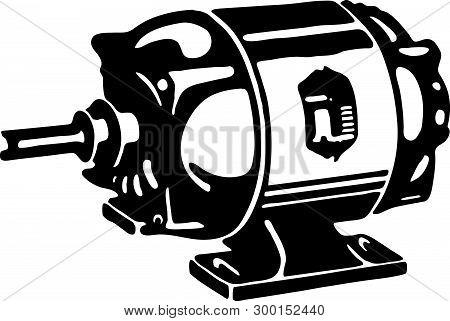 Motor - Retro Ad Art Illustration Of Mechanical Equipment