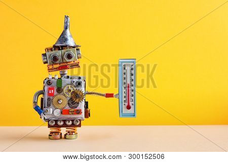 Weathermen Robot With Thermometer Displaying Comfort Room Temperature 21 Degree Celsius. Weather For