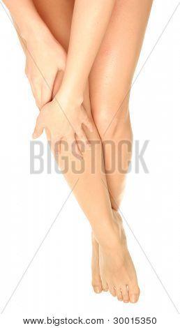 Beautiful legs on white background