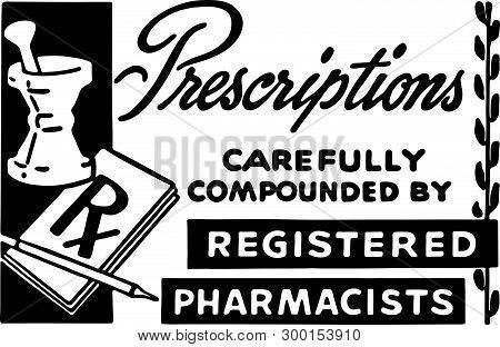 Prescriptions 3 - Retro Ad Art Banner For Pharmacy
