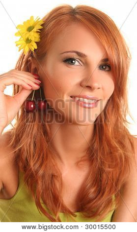 cute girl with sweet cherry