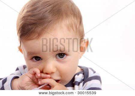 beautiful baby biting, baby studio photo