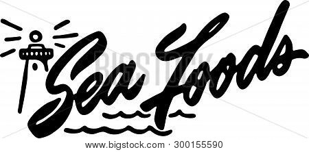 Sea Foods - Retro Ad Art Banner