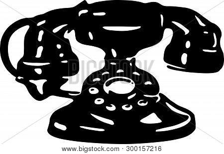 Telephone - Retro Ad Art Illustration Of Rotary Dial Phone