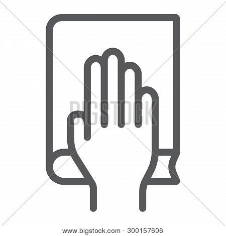 Honestly Line Icon, Truth And Trust, Palm On Book Sign, Vector Graphics, A Linear Pattern On A White
