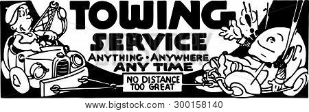 Towing Service - Retro Ad Art Banner For Towing