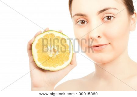 Beautiful Woman With Green Grapefruit