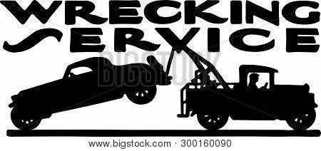 Wrecking Service - Automotive Retro Ad Art Banner