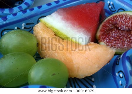 Figs, grapes, melon and watermelon