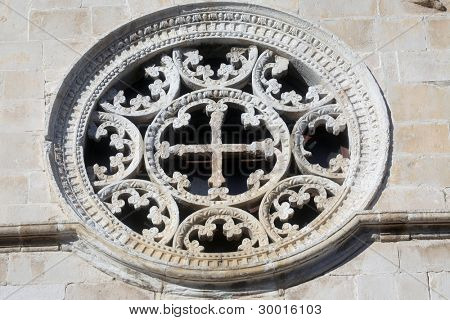 Rose Window, Church of Assumption of the Blessed Virgin Mary in Pag, Croatia