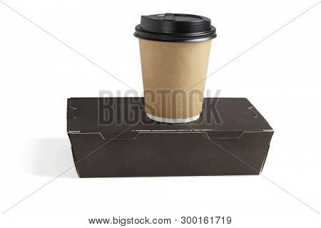 Coffee Cup and Takeaway Lunch Box on White Background