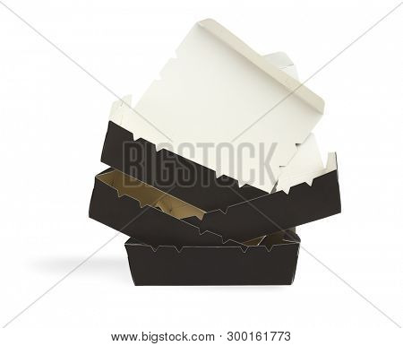 Stack of Open Takeaway Paper Boxes on White Backgound