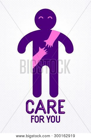 Beloved man with care hands of a lover woman hugging him around from behind, vector icon logo or illustration in simplistic symbolic style. poster