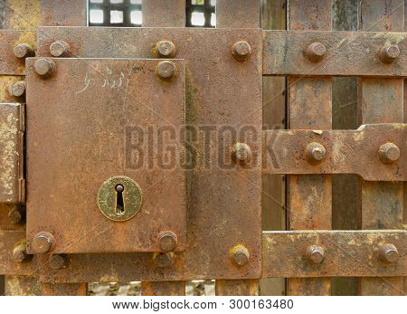 Old, Rusty Vintage Jail Cell Lock Outdoors In The Wild West Usa