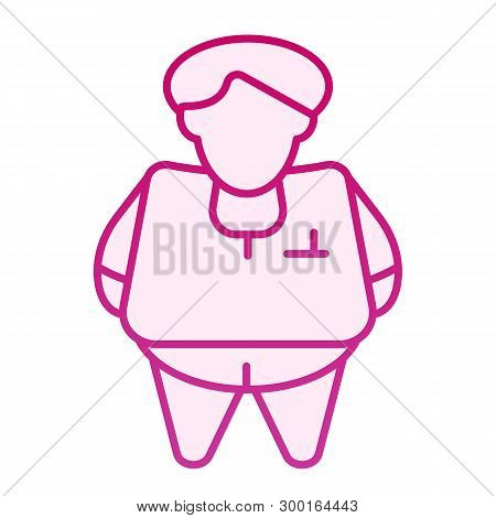 Fat Person Flat Icon. Obesity Pink Icons In Trendy Flat Style. Fat Man Gradient Style Design, Design