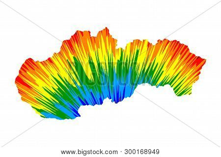 Slovakia - Map Is Designed Rainbow Abstract Colorful Pattern, Slovak Republic Map Made Of Color Expl