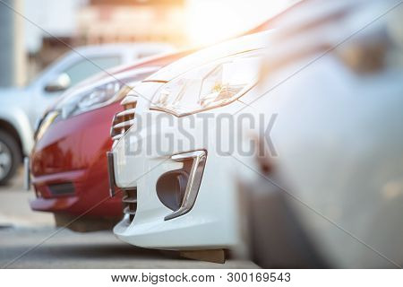 Cars Parked In The Parking Lot, Close-up. Cars For Sale Stock Lot Row. Car Dealer Inventory.