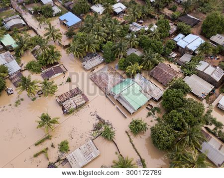 Aerial View Overhead Flooded Houses After A Cyclone