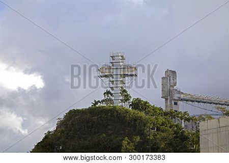 Bayamon/puerto Rico - February 26, 2019: Christian Cross With Scaffolding At Luis A. Ferre Science P