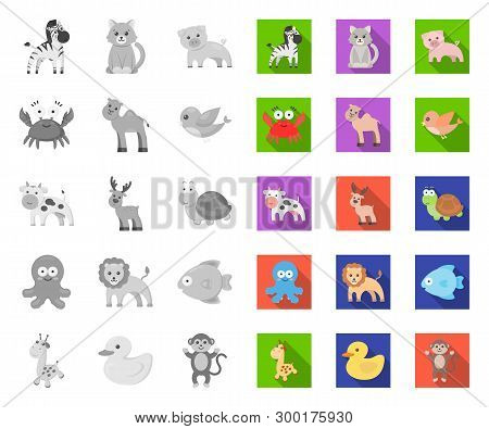 An Unrealistic Mono, Flat Animal Icons In Set Collection For Design. Toy Animals Vector Symbol Stock