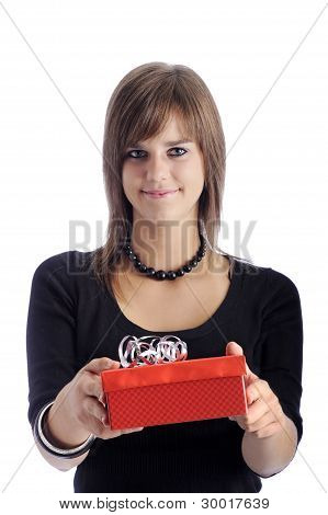 Teenage Girl With Red Gift Box