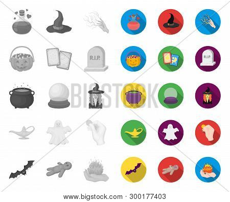 Mono, Flat And White Magic Mono, Flat Icons In Set Collection For Design. Attributes And Sorceress A