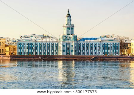 St Petersburg, Russia.Kunstkamera building at the University embankment of Neva river in St Petersburg, Russia. The Kunstkamera is the first museum in Russia.St Petersburg Russia -city landscape