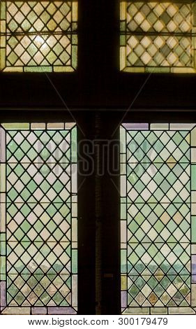 Look At Vignon In France Trough Old Medieval Stained Glass Window