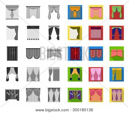 Different Kinds Of Curtains Mono, Flat Icons In Set Collection For Design. Curtains And Lambrequins