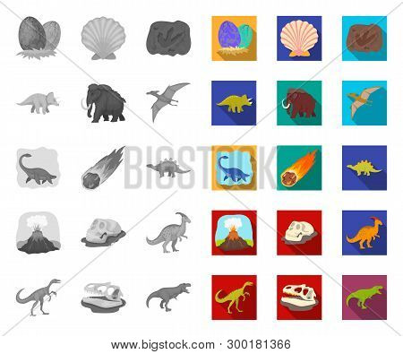 Different Dinosaurs Mono, Flat Icons In Set Collection For Design. Prehistoric Animal Vector Symbol