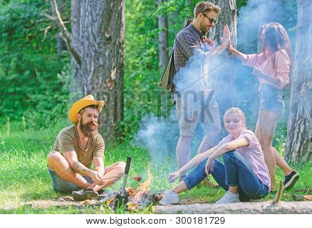 Join Summer Picnic. Friends Meeting Near Bonfire To Hang Out And Prepare Roasted Sausages Snacks Nat