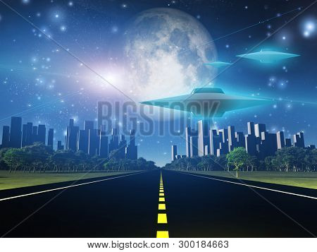Highway to city with large moon and alien ships. 3D rendering
