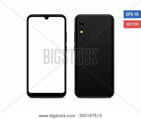 Realistic vector flat mock-up smartphone with blank screen isolated on white background. Scale image any resolution