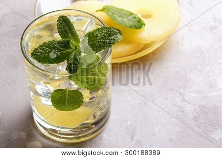 Infused Detox Water With Pineapple And Mint. Summer Drink