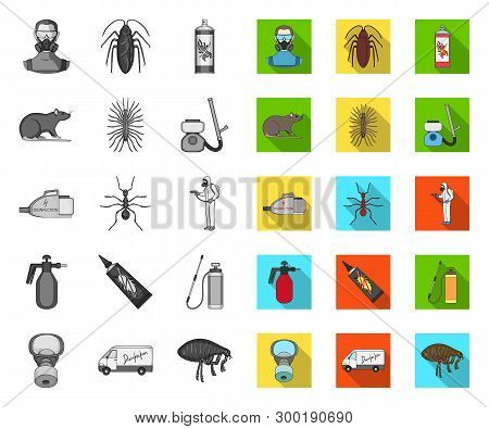Pest, Poison, Personnel And Equipment Mono, Flat Icons In Set Collection For Design. Pest Control Se
